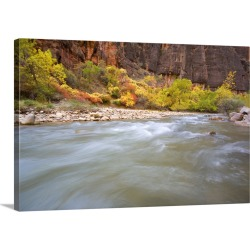 Large Solid-Faced Canvas Print Wall Art Print 30 x 20 entitled Rushing Water Of Virgin River