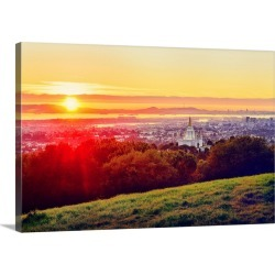Large Gallery-Wrapped Canvas Wall Art Print 30 x 20 entitled Oakland California Temple Sun Setting, From the Hill, Oakland... found on Bargain Bro India from Great Big Canvas - Dynamic for $199.99