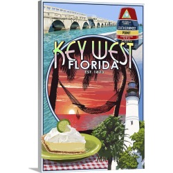 Large Gallery-Wrapped Canvas Wall Art Print 16 x 24 entitled Key West, Florida - Montage: Retro Travel Poster