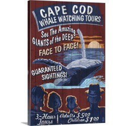Large Gallery-Wrapped Canvas Wall Art Print 16 x 24 entitled Cape Cod, Massachusetts - Blue Whale Watching Vintage Sign: R... found on Bargain Bro India from Great Big Canvas - Dynamic for $214.99
