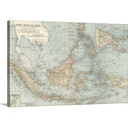 Large Gallery-Wrapped Canvas Wall Art Print 24 x 16 entitled East India Islands, Malaysia and Melanesia - Vintage Map