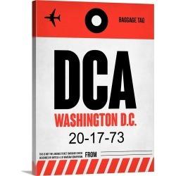 Large Gallery-Wrapped Canvas Wall Art Print 18 x 24 entitled DCA Washington Luggage Tag I