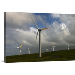 Large Solid-Faced Canvas Print Wall Art Print 30 x 20 entitled Wind turbines on a hill on the Big Island