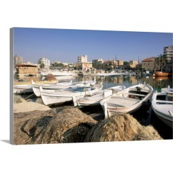 Large Gallery-Wrapped Canvas Wall Art Print 24 x 16 entitled Fishing boats in the fishing harbour, Tyre (Sour), The South,... found on Bargain Bro India from Great Big Canvas - Dynamic for $224.99