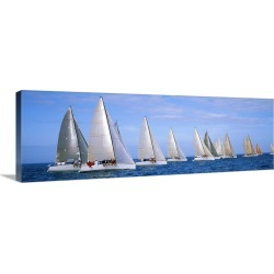 Large Gallery-Wrapped Canvas Wall Art Print 30 x 10 entitled Yachts in the ocean, Key West, Florida