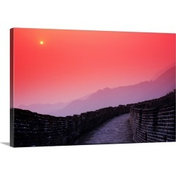 Large Solid-Faced Canvas Print Wall Art Print 30 x 20 entitled China, Mu Tian Yu, The Great Wall Of China, Bright Red Sky ...