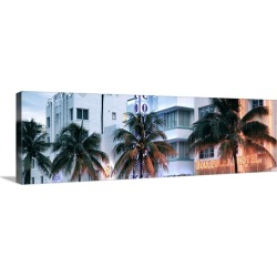 Large Solid-Faced Canvas Print Wall Art Print 48 x 16 entitled Miami Beach Art Deco District