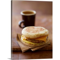 Large Gallery-Wrapped Canvas Wall Art Print 18 x 24 entitled Sausage, Egg and Cheese Breakfast Sandwich on English Muffin;... found on Bargain Bro India from Great Big Canvas - Dynamic for $244.99
