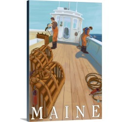 Large Gallery-Wrapped Canvas Wall Art Print 20 x 30 entitled Maine - Lobster Fishing: Retro Travel Poster