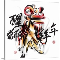 Large Solid-Faced Canvas Print Wall Art Print 20 x 20 entitled Lion Dance - The Consciousness of the Lion