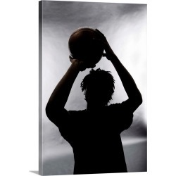 Large Gallery-Wrapped Canvas Wall Art Print 16 x 24 entitled Silhouette of basketball player found on Bargain Bro India from Great Big Canvas - Dynamic for $214.99