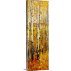 Large Solid-Faced Canvas Print Wall Art Print 16 x 48 entitled Vivid Birch Forest II