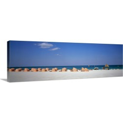 Large Solid-Faced Canvas Print Wall Art Print 48 x 16 entitled Beach Scene Miami FL