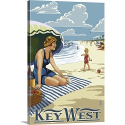 Large Gallery-Wrapped Canvas Wall Art Print 16 x 24 entitled Key West, Florida - Beach Scene: Retro Travel Poster