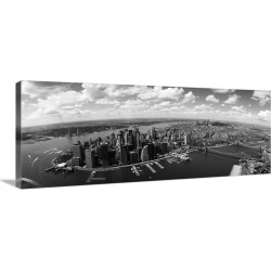 Large Gallery-Wrapped Canvas Wall Art Print 48 x 19 entitled Aerial view of buildings in a city, New York City