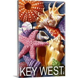 Large Gallery-Wrapped Canvas Wall Art Print 16 x 24 entitled Key West, Florida - Shells: Retro Travel Poster