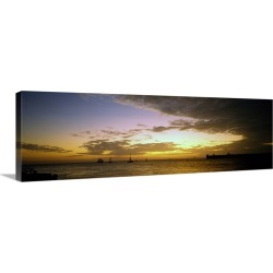 Large Gallery-Wrapped Canvas Wall Art Print 30 x 10 entitled Sea at sunset, Key West, Monroe County, Florida,