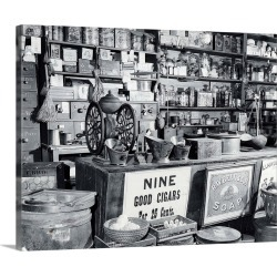 Large Solid-Faced Canvas Print Wall Art Print 30 x 24 entitled Late 19th Century General Store Counter