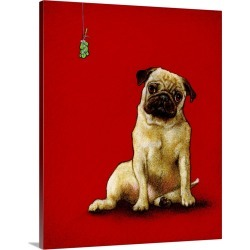 Large Solid-Faced Canvas Print Wall Art Print 24 x 30 entitled A Pug and a Kiss