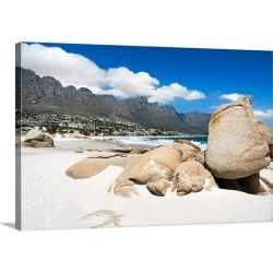 Large Solid-Faced Canvas Print Wall Art Print 30 x 20 entitled Beach at Camps Bay - Cape Town