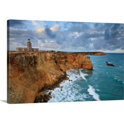 Large Solid-Faced Canvas Print Wall Art Print 30 x 20 entitled Puerto Rico, West Coast, Punta Jaguey, Faro de Cabo Rojo (R...