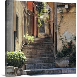 Large Solid-Faced Canvas Print Wall Art Print 20 x 20 entitled A stairway invites walkers to explore Taormina on Sicily, I...