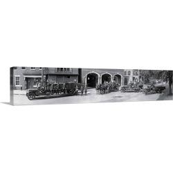 Large Gallery-Wrapped Canvas Wall Art Print 48 x 11 entitled Fire trucks Alexandria VA