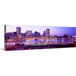 Large Solid-Faced Canvas Print Wall Art Print 48 x 16 entitled Inner Harbor Baltimore MD