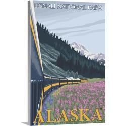 Large Gallery-Wrapped Canvas Wall Art Print 20 x 30 entitled Alaska Railroad Scene - Denali National Park, Alaska: Retro T...
