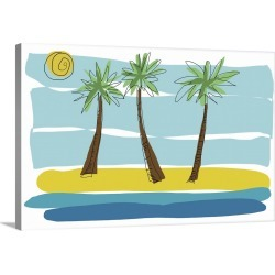 Large Solid-Faced Canvas Print Wall Art Print 30 x 20 entitled Beach Day Palms I