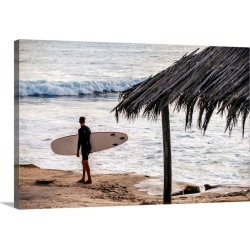 Large Solid-Faced Canvas Print Wall Art Print 30 x 20 entitled Surfer on Windansea Beach, San Diego, California