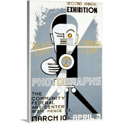 Large Solid-Faced Canvas Print Wall Art Print 20 x 30 entitled Poster for the Sioux City Camera Club's second annual exhib...