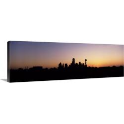 Large Solid-Faced Canvas Print Wall Art Print 48 x 16 entitled Sunrise Skyline Dallas TX USA