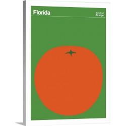 Large Solid-Faced Canvas Print Wall Art Print 30 x 40 entitled State Posters - Florida State Fruit: Orange