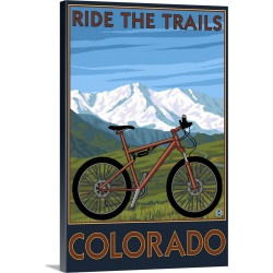 Large Gallery-Wrapped Canvas Wall Art Print 16 x 24 entitled Colorado, Ride the Trails, Mountain Bike
