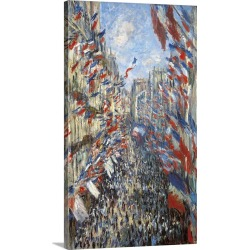 Large Gallery-Wrapped Canvas Wall Art Print 12 x 21 entitled The Rue Montorgueil, Paris, Celebration of June 30. found on Bargain Bro India from Great Big Canvas - Dynamic for $119.99