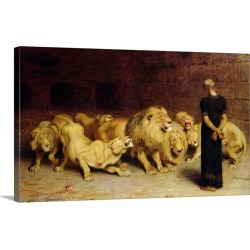 Large Gallery-Wrapped Canvas Wall Art Print 24 x 15 entitled Daniel in the Lions' Den, 1872 found on Bargain Bro India from Great Big Canvas - Dynamic for $199.99