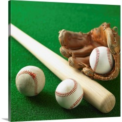 Large Solid-Faced Canvas Print Wall Art Print 20 x 20 entitled A Baseball, Gloves And A Bat