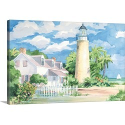 Large Gallery-Wrapped Canvas Wall Art Print 30 x 20 entitled Key West Lighthouse