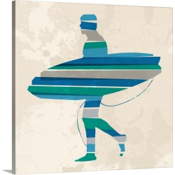 Large Solid-Faced Canvas Print Wall Art Print 20 x 20 entitled Blue Surfer