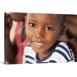 Large Solid-Faced Canvas Print Wall Art Print 30 x 20 entitled Young boy in Haiti found on Bargain Bro India from Great Big Canvas - Dynamic for $169.99