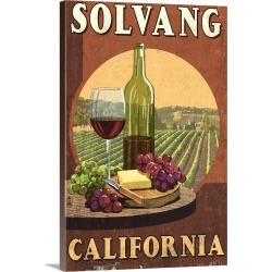 Large Gallery-Wrapped Canvas Wall Art Print 16 x 24 entitled Solvang, California - Wine Vintage Sign: Retro Travel Poster found on Bargain Bro India from Great Big Canvas - Dynamic for $169.99