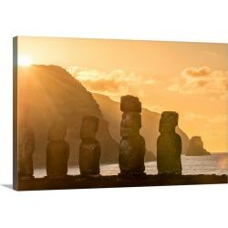 Large Solid-Faced Canvas Print Wall Art Print 30 x 20 entitled Chile, Valparaiso, Easter Island, Ahu Tongariki Moai at sun...
