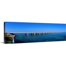 Large Gallery-Wrapped Canvas Wall Art Print 30 x 10 entitled Highway 1 to Key West Florida