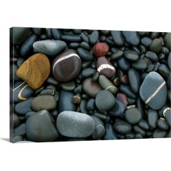 Large Solid-Faced Canvas Print Wall Art Print 30 x 20 entitled Pebbles on a beach