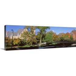 Large Gallery-Wrapped Canvas Wall Art Print 30 x 10 entitled Bridge in front of a university, Music and Science Hall, Park...