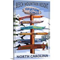 Large Solid-Faced Canvas Print Wall Art Print 20 x 30 entitled Beech Mountain, North Carolina - Ski Signpost: Retro Travel...