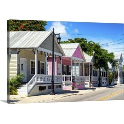 Large Gallery-Wrapped Canvas Wall Art Print 24 x 16 entitled Key West Architecture - The Pink House