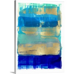 Large Gallery-Wrapped Canvas Wall Art Print 18 x 24 entitled Abstract Expressions Blues and Gold
