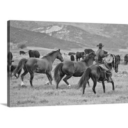 Large Gallery-Wrapped Canvas Wall Art Print 24 x 16 entitled A cowboy herding cattle in field